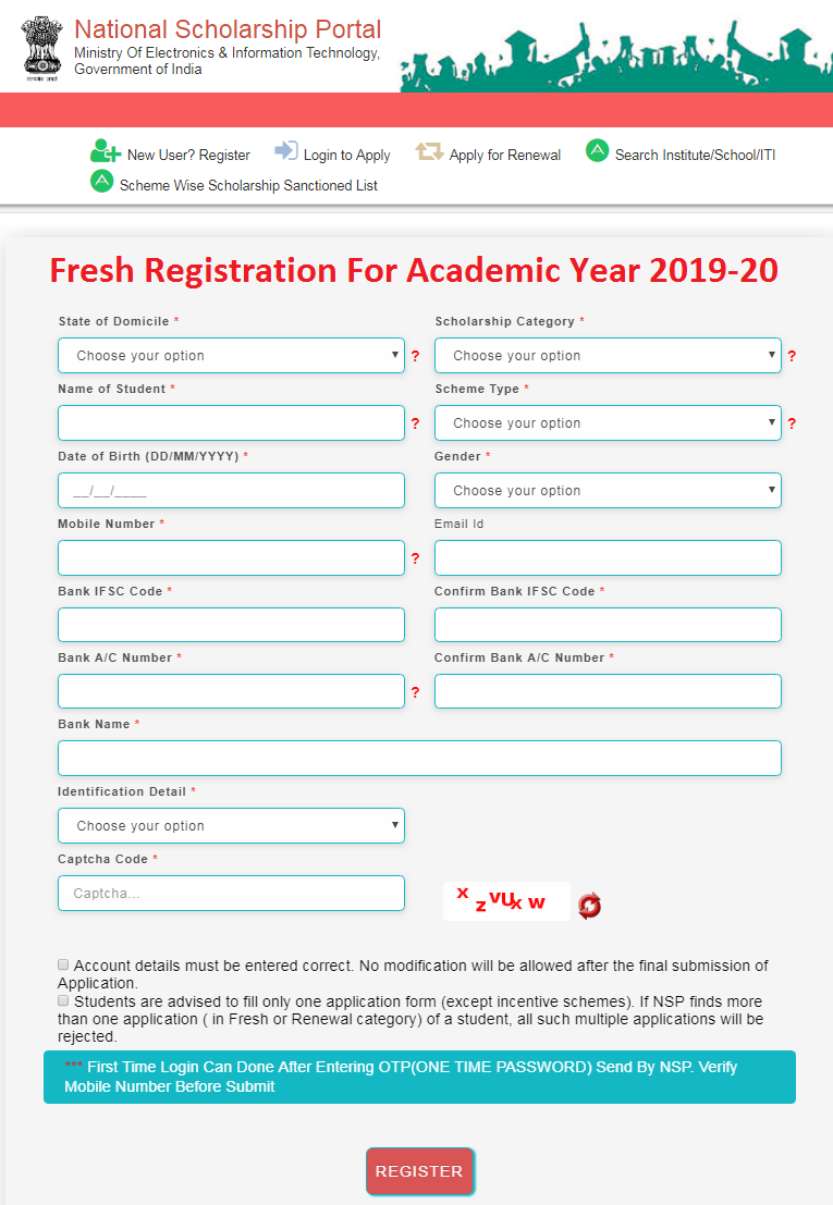 National Scholarship 2019-20 Registration Application Form