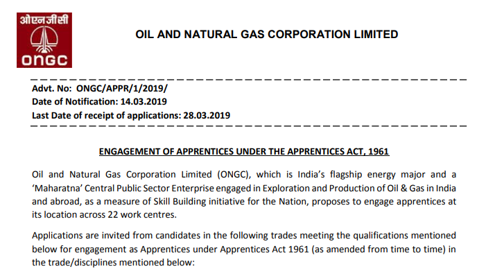 www.ongcindia.com - ONGC Apprentice Recruitment 2019 Online Form