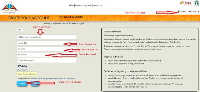 Vidyasaarathi Scholarship Registration Form