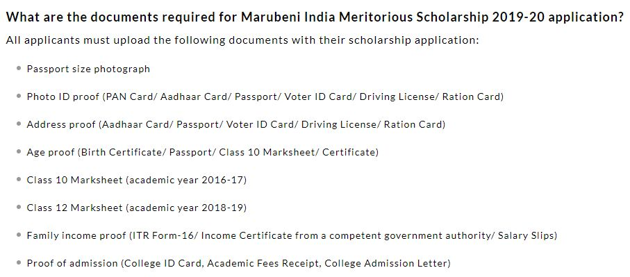 Required Documents For Marubeni India Meritorious Scholarship