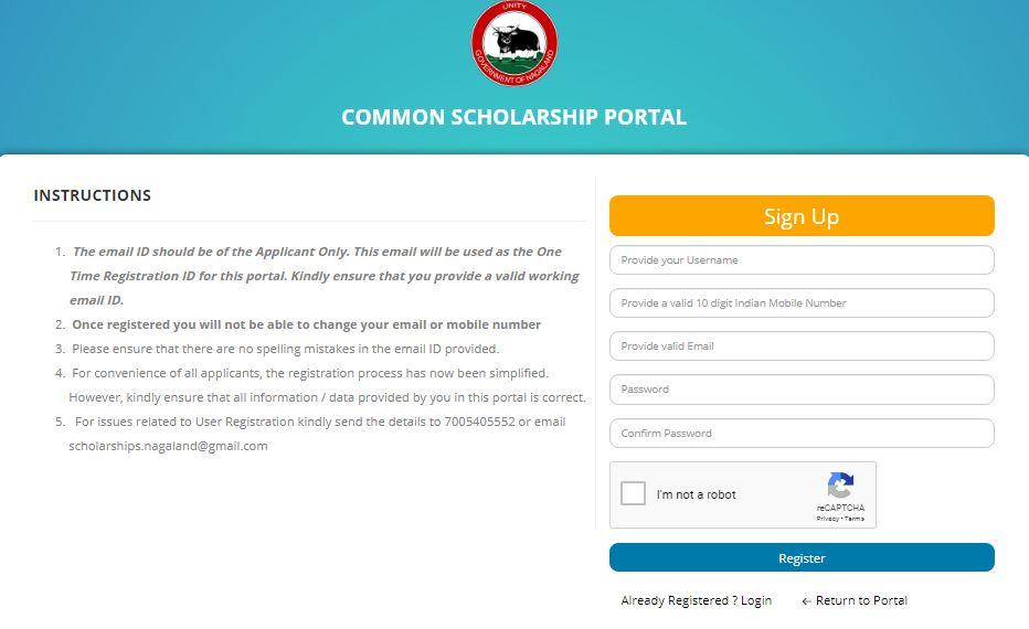 Scholarship Portal Nagaland Registration