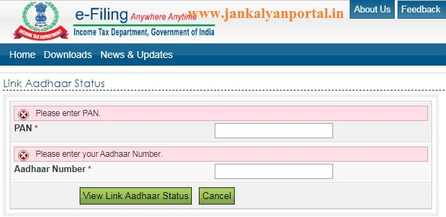 Check PAN Aadhar Link Status