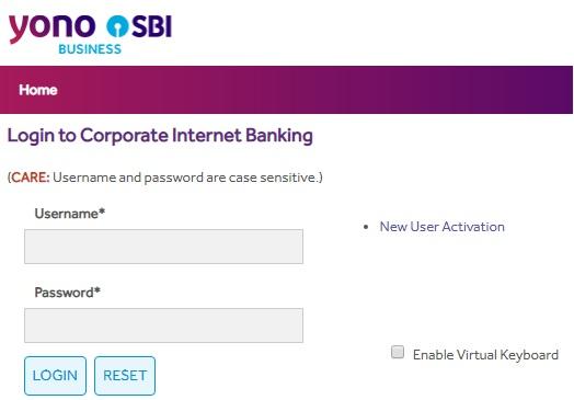 SBI Corporate Net Banking Login