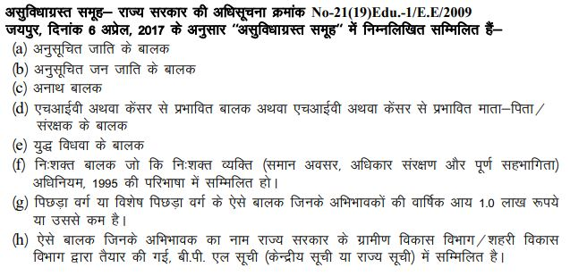 RTE Rajasthan Eligibility