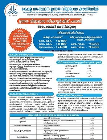 www.kshec.kerala.gov.in Higher Education Scholarship [KSHEC] - Online Form Last Date