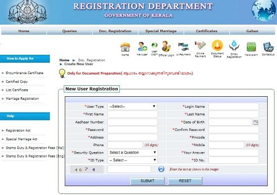 keralaregistration.gov.in Registration Department Application Form Online 2