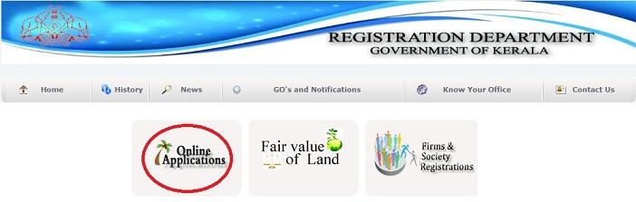 keralaregistration.gov.in Registration Department Application Form Online