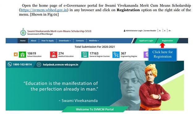 Swami Vivekananda Scholarship Online Registration Step 1