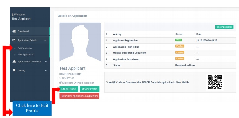 Swami Vivekananda Scholarship User Profile
