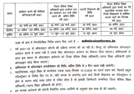 RTE UP Admission 2021-22 Online Application Form Date ~ rte25.upsdc.gov.in