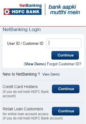 HDFC Net Banking Online Registration Login - Credit Card, Corporate, Wholesale
