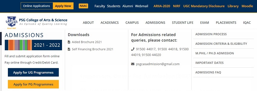 PSG College Application Form 2021 - www.psgcas.ac.in Arts and Science Admission