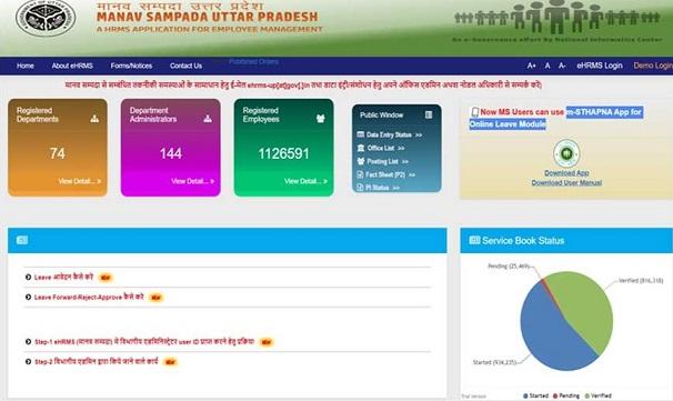 Manav Sampada Portal - ehrms.nic.in Login, Registration Form, Apply Leave, Download e-Service Book